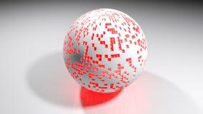 Άσπρη σφαίρα με τα κόκκινα αναμμένα σημεία - τρισδιάστατη απόδοση Στοκ εικόνες με δικαίωμα ελεύθερης χρήσης