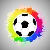 Άσπρη σφαίρα ποδοσφαίρου με τον ψεκασμό ουράνιων τόξων watercolor ελεύθερη απεικόνιση δικαιώματος