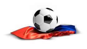 Άσπρη σφαίρα ποδοσφαίρου ποδοσφαίρου στη ρωσική σημαία Απομονωμένος τρισδιάστατος Στοκ εικόνα με δικαίωμα ελεύθερης χρήσης
