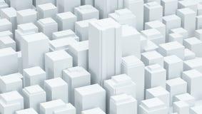 Άσπρη σχηματική τρισδιάστατη απεικόνιση υποβάθρου πόλεων Στοκ φωτογραφίες με δικαίωμα ελεύθερης χρήσης