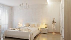 Άσπρη σύγχρονη κρεβατοκάμαρα στοκ φωτογραφία με δικαίωμα ελεύθερης χρήσης