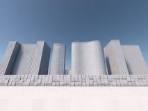 Άσπρη τρισδιάστατη απόδοση skyscapers Στοκ Εικόνες