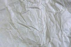 Άσπρη τσαλακωμένη επιφάνεια υποβάθρου εγγράφου κενή Τοπ άποψη χρωμάτων κάλυψης βιβλίων κρητιδογραφιών  Γκρίζο grunge φύλλο περγαμ Στοκ Φωτογραφίες
