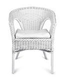 Άσπρη ψάθινη καρέκλα που απομονώνεται Στοκ εικόνες με δικαίωμα ελεύθερης χρήσης