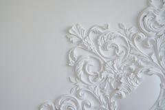 Άσπρη bas-ανακούφιση σχεδίου τοίχων πολυτέλειας με το στοιχείο roccoco σχημάτων στόκων Στοκ εικόνες με δικαίωμα ελεύθερης χρήσης