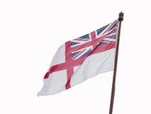 Άσπρη ensign σημαία που απομονώνεται στο λευκό Στοκ Φωτογραφία