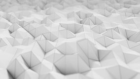 Άσπρη polygonal επιφάνεια που κυματίζει με DOF Αφηρημένος γεωμετρικός σύγχρονος Πολύγωνο τριγώνων Ρεαλιστική 4K ζωτικότητα διανυσματική απεικόνιση