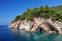 Άσπροι απότομοι βράχοι, δέντρα πεύκων και τυρκουάζ ωκεανός στοκ εικόνες