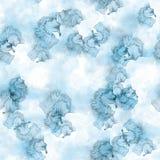 Άσπροι και μπλε άνευ ραφής λεκέδες watercolor σχεδίων Στοκ φωτογραφία με δικαίωμα ελεύθερης χρήσης