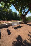 Άσπροι πάγκοι σε έναν θερινό κήπο Στοκ φωτογραφία με δικαίωμα ελεύθερης χρήσης