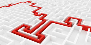 Άσπρος λαβύρινθος και κόκκινη γραμμή λύσης, σύνθετος τρόπος να βρεθεί η έξοδος διανυσματική απεικόνιση