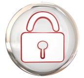 Άσπρος λαμπρός κουμπιών ασφάλειας ασφάλειας κλειδαριών Στοκ Εικόνες