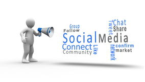 Άσπρος αριθμός που φωνάζει megaphone για να αποκαλύψει κοινωνικούς όρους μέσων απεικόνιση αποθεμάτων
