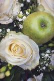 Άσπρος αυξήθηκε και πράσινο μήλο Στοκ Φωτογραφία