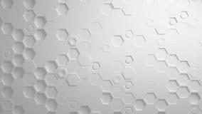 Άσπρος αφηρημένος Hexagon γεωμετρικός άνευ ραφής βρόχος 4K UHD επιφάνειας απεικόνιση αποθεμάτων