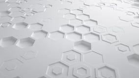 Άσπρος αφηρημένος Hexagon γεωμετρικός άνευ ραφής βρόχος 4K UHD επιφάνειας Μπροστινή όψη διανυσματική απεικόνιση