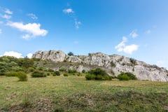 Άσπρος βράχος στην Τσεχία Palava Βράχος που τοποθετείται στα δέντρα και το δάσος Στοκ Εικόνα