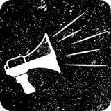 Άσπρος, δυνατός, megaphone στο μαύρο αναδρομικό υπόβαθρο, διάνυσμα διανυσματική απεικόνιση
