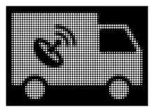 Άσπρος ημίτονος τηλεχειρισμός Van Icon διανυσματική απεικόνιση