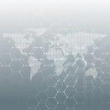 Άσπρος διαστιγμένος παγκόσμιος χάρτης, συνδέοντας γραμμές και σημεία στο γκρίζο υπόβαθρο χρώματος Σχέδιο χημείας, εξαγωνικό μόριο ελεύθερη απεικόνιση δικαιώματος