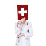 Άσπρος ιατρικός σταυρός Στοκ Εικόνες