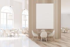 Άσπρος και ξύλινος καφές πολυτέλειας με μια αφίσα ελεύθερη απεικόνιση δικαιώματος