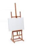 Άσπρος καμβάς ζωγράφων ξύλινο easel που απομονώνεται στο λευκό με το συνδετήρα Στοκ Εικόνες