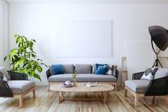 Άσπρος καμβάς στον τοίχο στο καθιστικό τρισδιάστατος δώστε ελεύθερη απεικόνιση δικαιώματος
