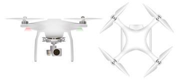 Άσπρος κηφήνας με με τη ψηφιακή κάμερα για την αεροφωτογραφία Τηλεκατευθυνόμενα αεροσκάφη Στοκ φωτογραφία με δικαίωμα ελεύθερης χρήσης