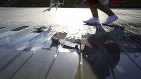 Άσπρος κηφήνας στο υγρό πεζοδρόμιο φιλμ μικρού μήκους