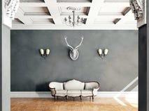 Άσπρος κλασσικός καναπές ύφους στο εκλεκτής ποιότητας δωμάτιο ελεύθερη απεικόνιση δικαιώματος