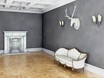 Άσπρος κλασσικός καναπές ύφους στο εκλεκτής ποιότητας δωμάτιο διανυσματική απεικόνιση