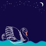 Άσπρος κύκνος που επιπλέει στα κύματα Στοκ Εικόνα