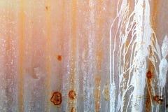 Άσπρος λεκές χρωμάτων στον παλαιό τοίχο ψευδάργυρου, το ναό Ιστού, και την παραγωγή λευκώματος αποκομμάτων Στοκ φωτογραφία με δικαίωμα ελεύθερης χρήσης