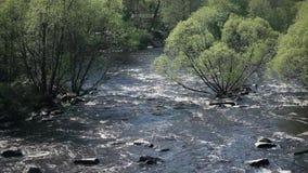 Άσπρος ρόλος νερού στο γρήγορο ποταμό φιλμ μικρού μήκους