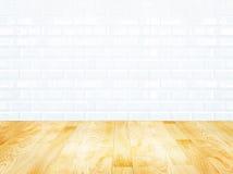 Άσπρος τοίχος κεραμιδιών τούβλου και ξύλινο πάτωμα παρκέ Στοκ Φωτογραφία