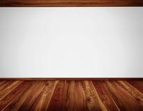 Άσπρος τοίχος με την ανώτατη κατασκευή ξυλείας και το ξύλινο πάτωμα Στοκ Εικόνα