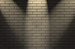 Άσπρος τουβλότοιχος με το φως τρία Στοκ Εικόνα