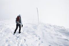 Άσπρος τρόπος στο βουνό στοκ φωτογραφίες