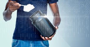 Άσπρος δυαδικός κώδικας και φλόγα πέρα από το άτομο που παίρνει το συμπλήρωμα στο μπλε κλίμα Στοκ Εικόνα