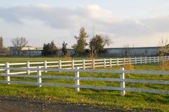 άσπρος φράκτης φιαγμένος από ξύλο γύρω από το πάρκο με τα μικρά σπορόφυτα Στοκ Εικόνες