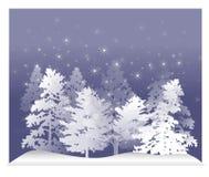 άσπρος χειμώνας 2 δέντρων χι&om Στοκ Εικόνες