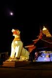 Άσπρο άγαλμα λιονταριών της ASEAN σε Chedi Buddhakhaya Στοκ φωτογραφία με δικαίωμα ελεύθερης χρήσης