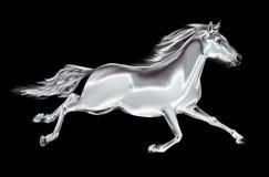 Άσπρο άλογο που καλπάζει σε ένα μαύρο υπόβαθρο Στοκ εικόνες με δικαίωμα ελεύθερης χρήσης