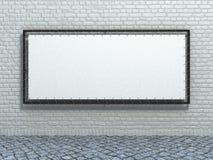 Άσπρο έμβλημα τεντωμάτων στο υπόβαθρο τουβλότοιχος Στοκ Εικόνες