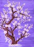Άσπρο δέντρο στο άνθος, ζωγραφική διανυσματική απεικόνιση