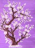Άσπρο δέντρο στο άνθος, ζωγραφική ελεύθερη απεικόνιση δικαιώματος