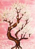 Άσπρο δέντρο στο ρόδινο υπόβαθρο, ζωγραφική απεικόνιση αποθεμάτων