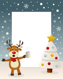 Άσπρο δέντρο Χριστουγέννων - πιωμένος τάρανδος διανυσματική απεικόνιση