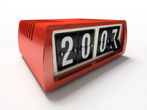 άσπρο έτος ρολογιών ανασκόπησης αντίθετο νέο κόκκινο στοκ φωτογραφία με δικαίωμα ελεύθερης χρήσης